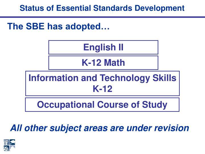 Status of Essential Standards Development