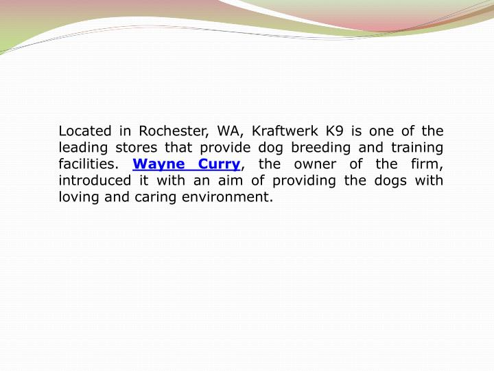 Located in Rochester, WA, Kraftwerk K9 is one of the leading stores that provide dog breeding and tr...