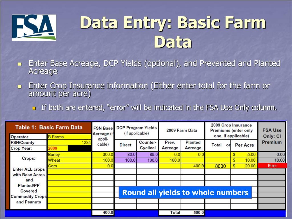 Data Entry: Basic Farm Data