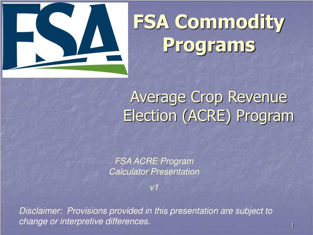 FSA Commodity Programs