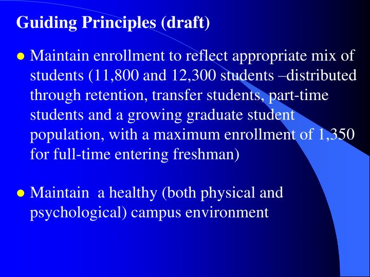 Guiding Principles (draft)