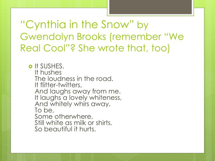 """Cynthia in the Snow"""