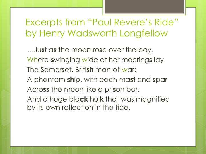 "Excerpts from ""Paul Revere's Ride"" by Henry Wadsworth"