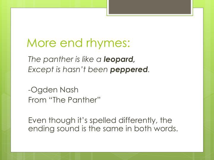 More end rhymes: