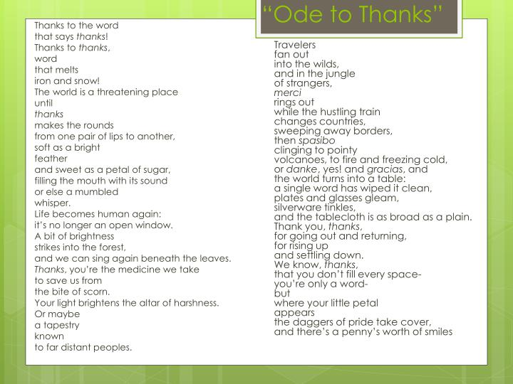 """Ode to Thanks"""