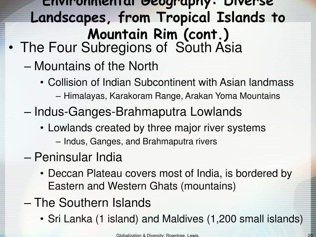 Environmental Geography: Diverse Landscapes, from Tropical Islands to Mountain Rim (cont.)