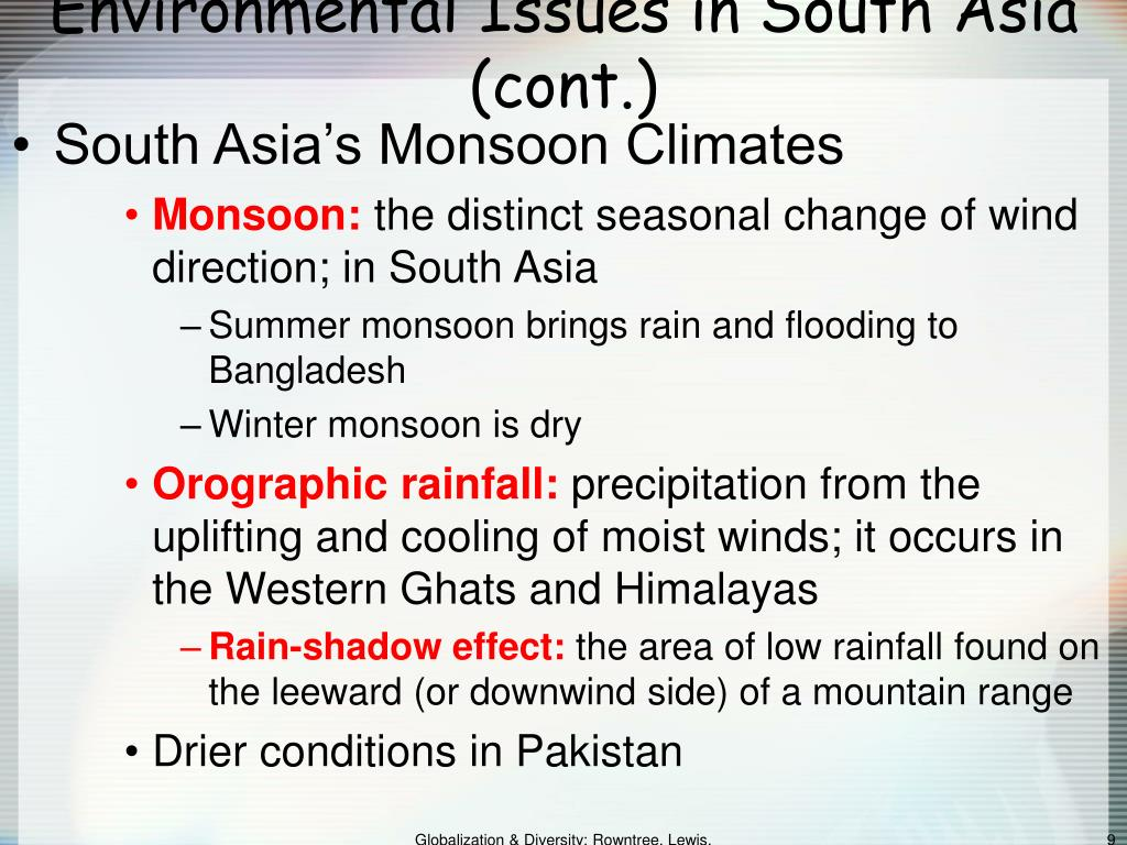 Environmental Issues in South Asia (cont.)
