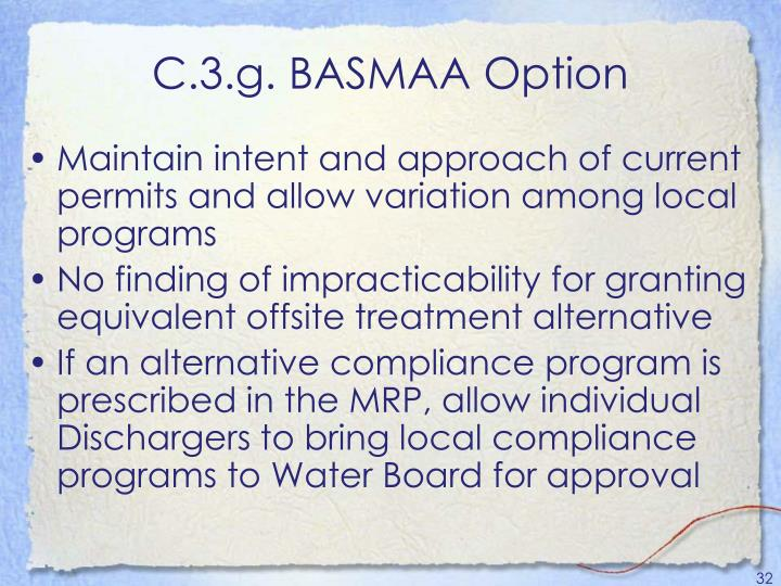 C.3.g. BASMAA Option
