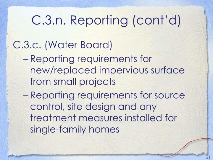 C.3.n. Reporting (cont'd)