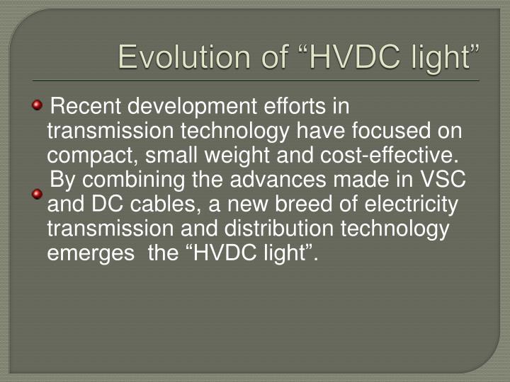 """Evolution of """"HVDC light"""""""