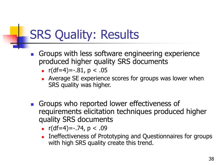 SRS Quality: Results