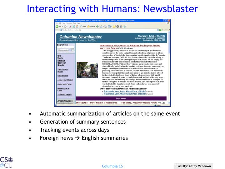 Interacting with humans newsblaster