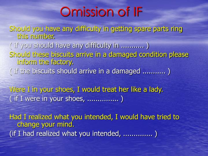 Omission of IF