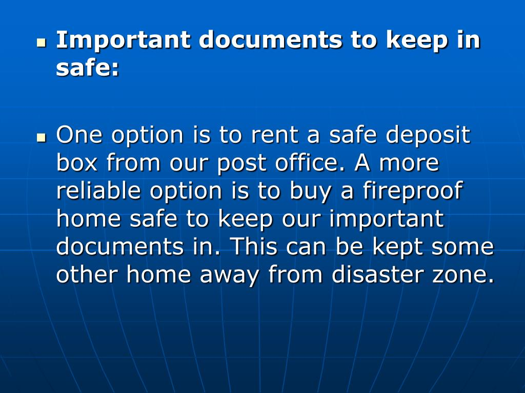 Important documents to keep in safe: