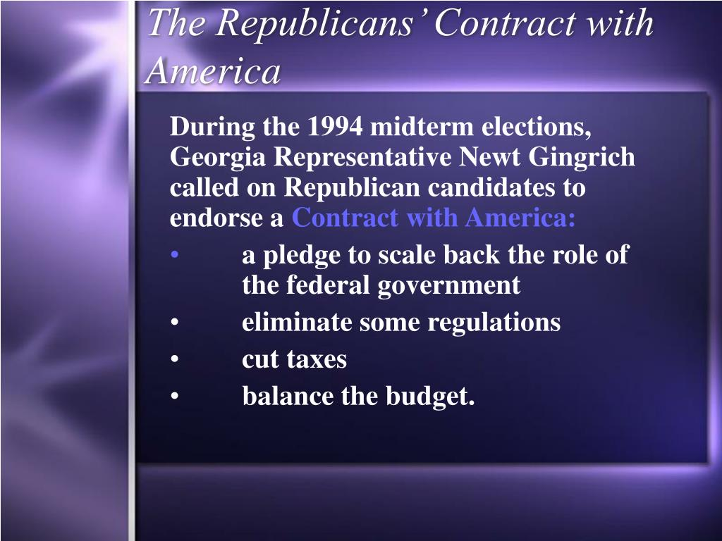 The Republicans' Contract with America
