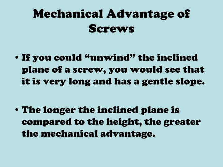 Mechanical Advantage of Screws