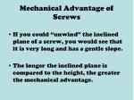 mechanical advantage of screws
