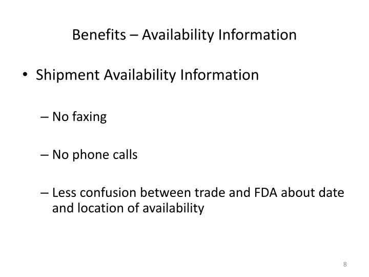 Benefits – Availability Information