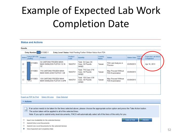 Example of Expected Lab Work Completion Date