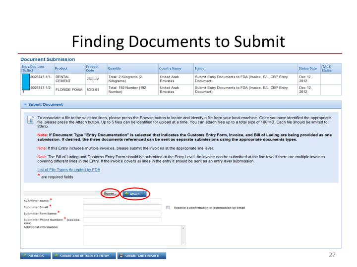 Finding Documents to Submit
