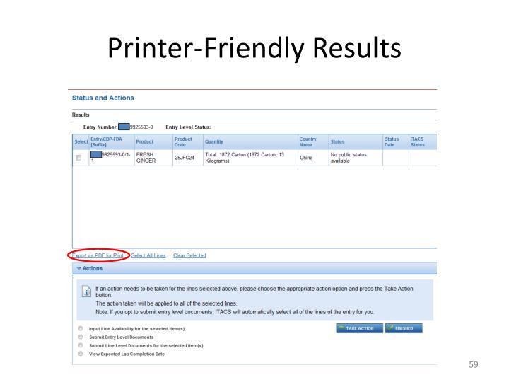 Printer-Friendly Results