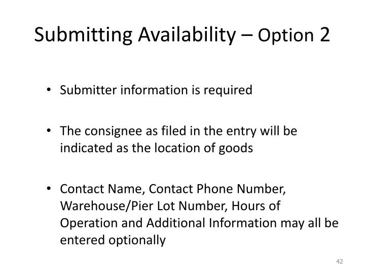 Submitting Availability –