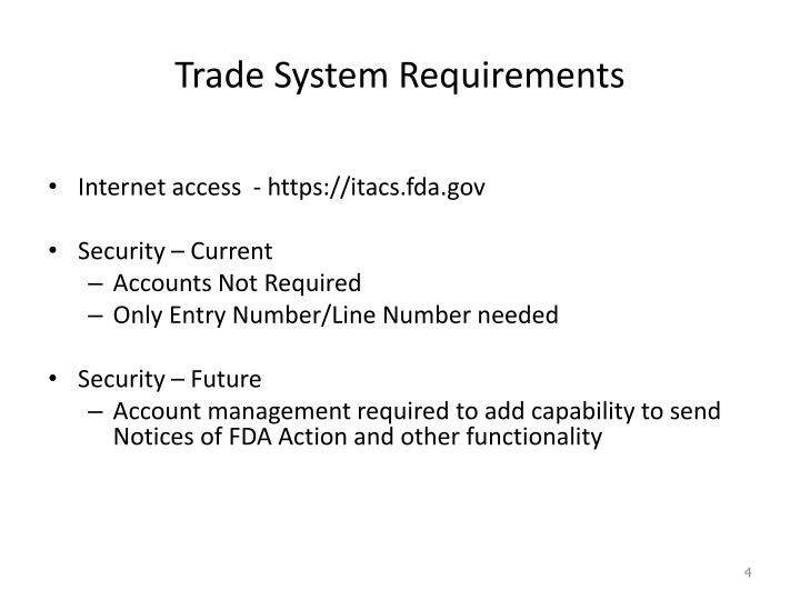 Trade System Requirements