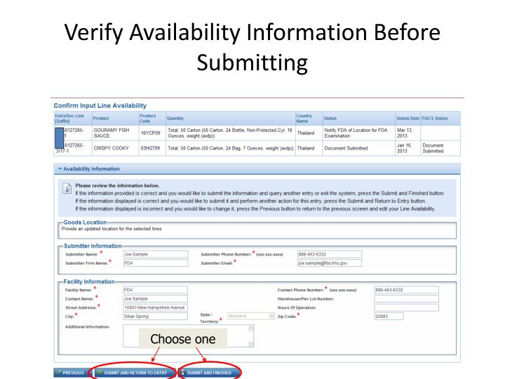 Verify Availability Information Before Submitting