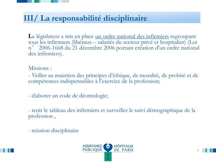 III/ La responsabilité disciplinaire