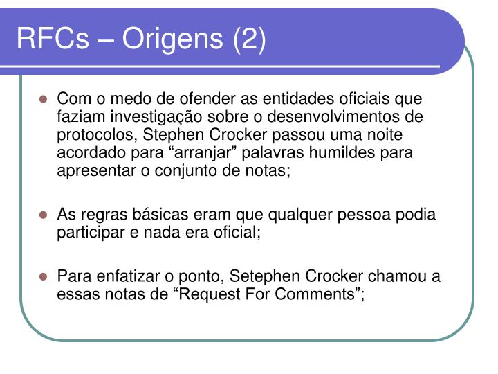 RFCs – Origens (2)