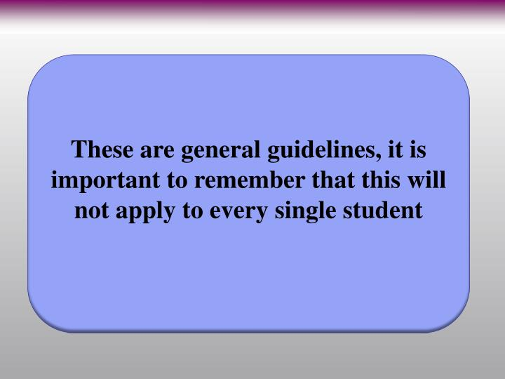 These are general guidelines, it is important to remember that this will not apply to every single student