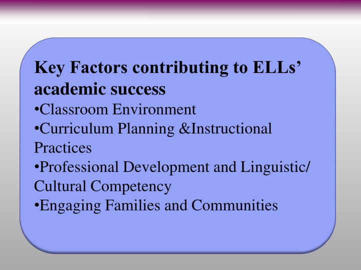 Key Factors contributing to ELLs' academic success