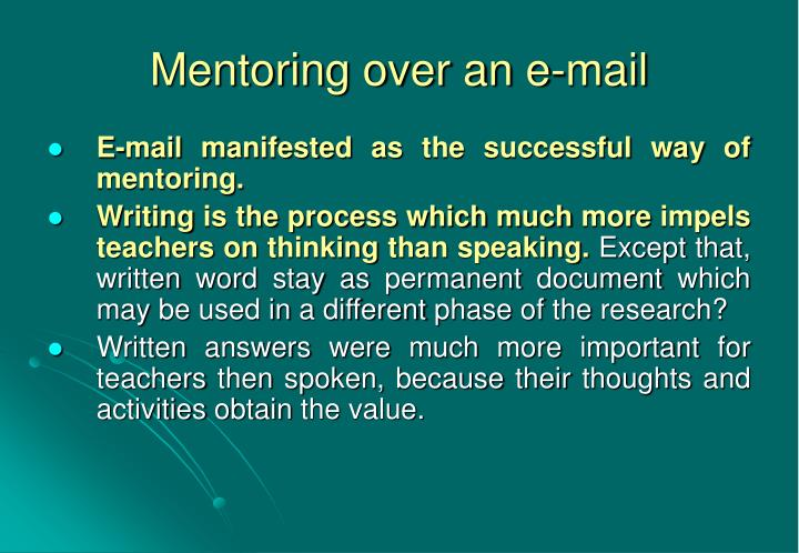 Mentoring over an e-mail