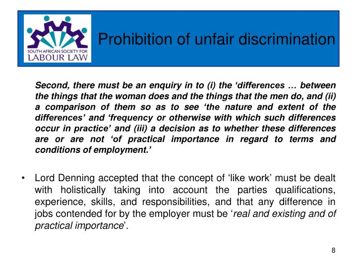 Prohibition of unfair discrimination