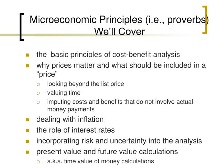 Microeconomic Principles (i.e., proverbs) Well Cover