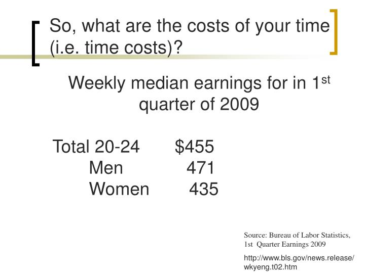 So, what are the costs of your time (i.e. time costs)?