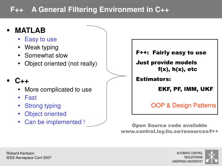 F++    A General Filtering Environment in C++