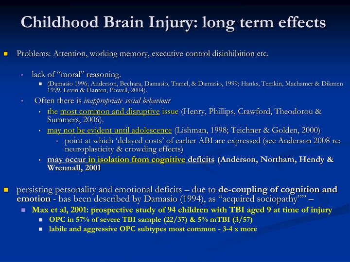 Childhood Brain Injury: long term effects