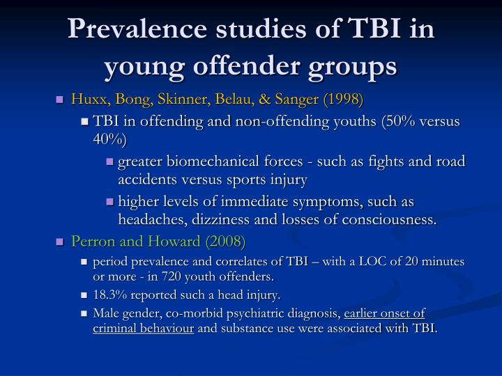 Prevalence studies of TBI in young offender groups
