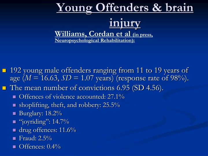 Young Offenders & brain
