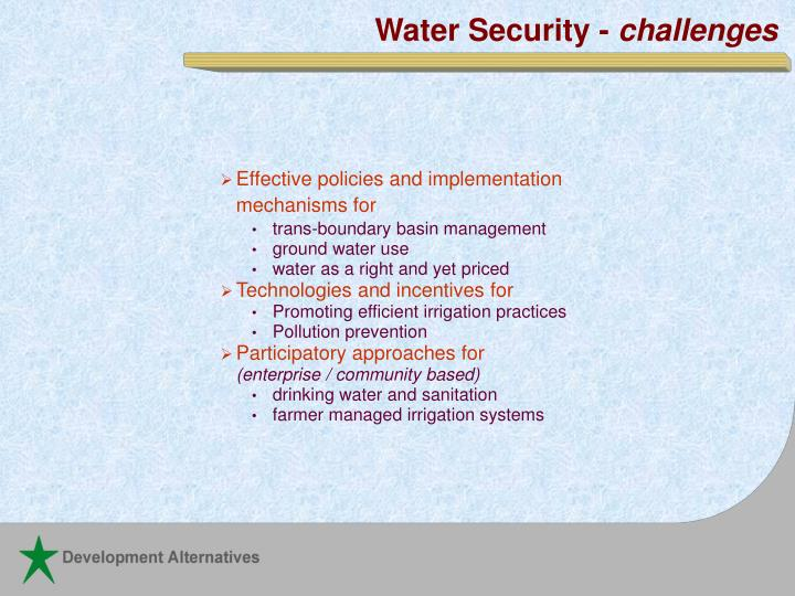 Water Security -