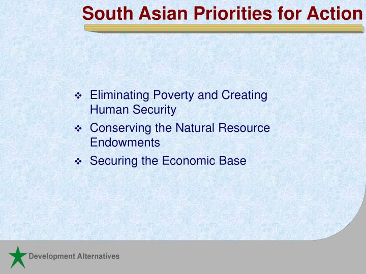 South Asian Priorities for Action