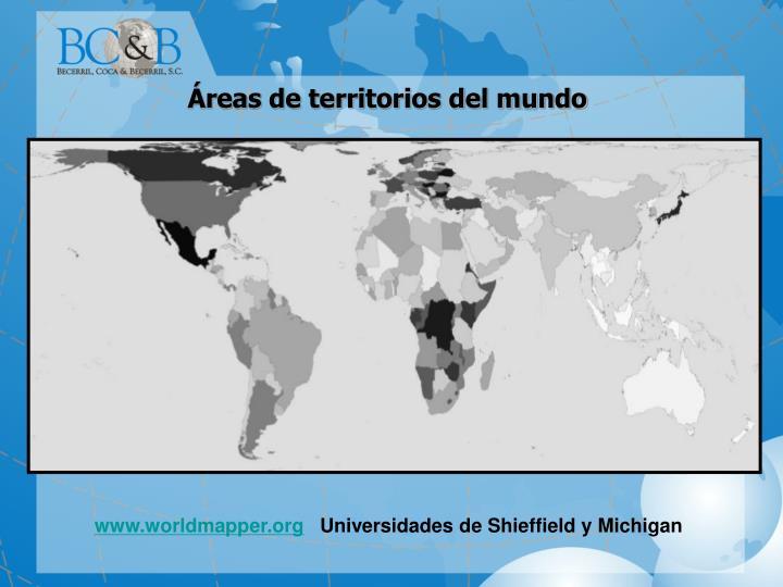Áreas de territorios del mundo