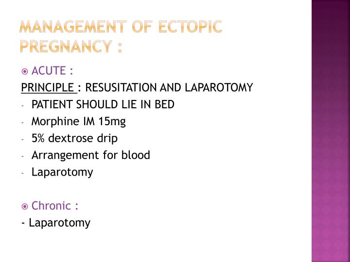 Management of ectopic pregnancy :