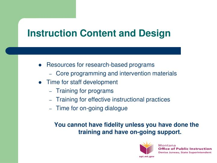 Instruction Content and Design