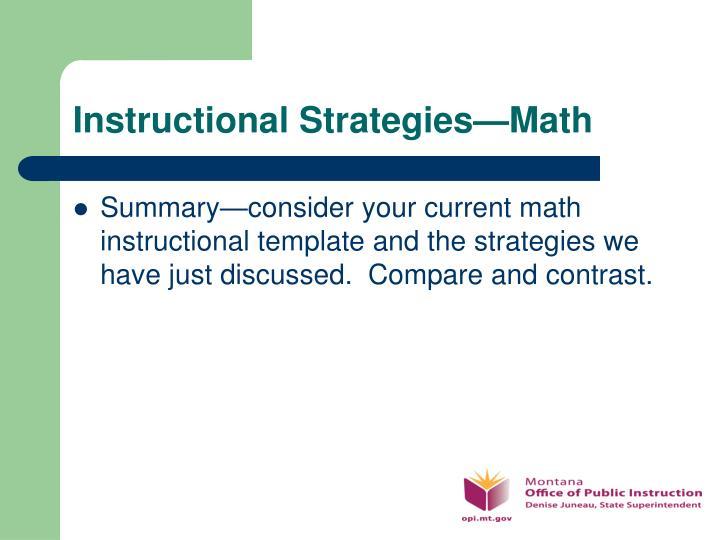 Instructional Strategies—Math