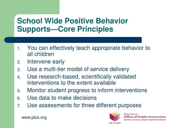 School Wide Positive Behavior Supports—Core Principles