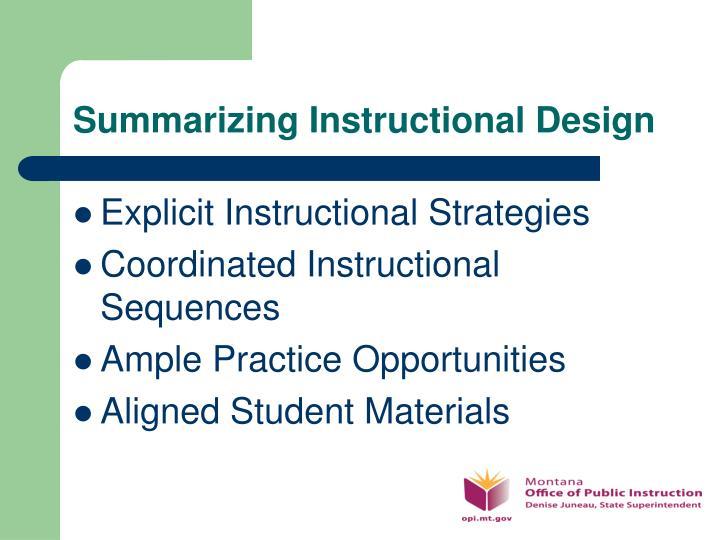 Summarizing Instructional Design