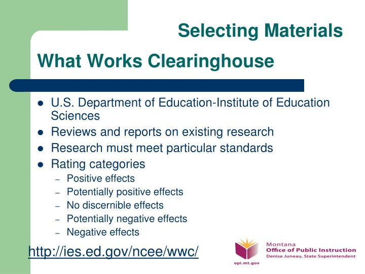Selecting Materials