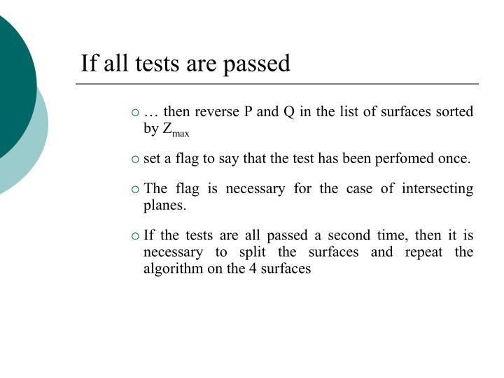 If all tests are passed